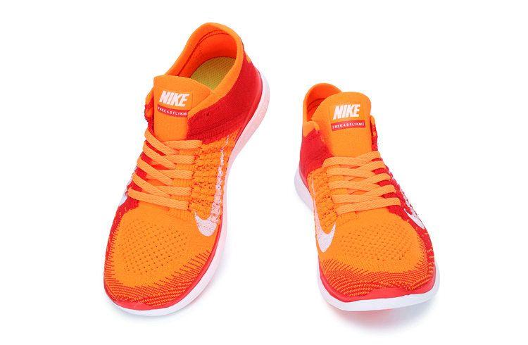 c56b373e0cdb7 Free Shipping Only 69  Nike Free 4.0 Men Flyknit Bright Citrus Pure  Platinum Bright Crimson