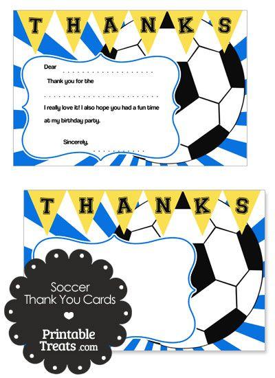 Blue Sunburst Soccer Thank You Cards from PrintableTreats.com