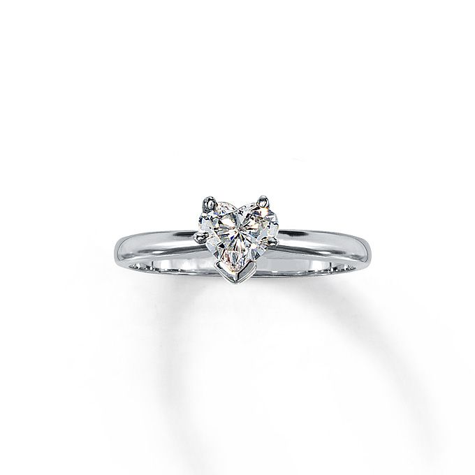 Heart shaped engagement rings joias style 161228806 14kw 5 ct heart shaped solitaire ring kay jewelers junglespirit Gallery