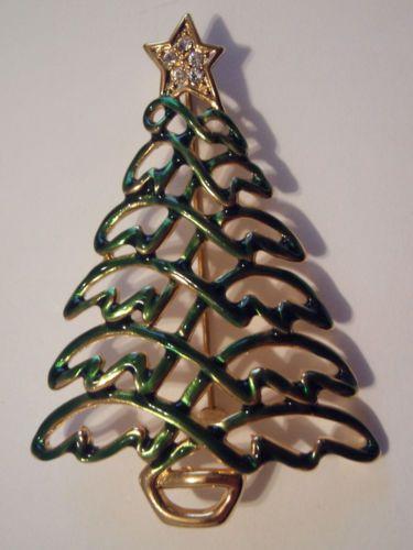 Enamel Rhinestone Christmas Tree Pin Signed Krementz