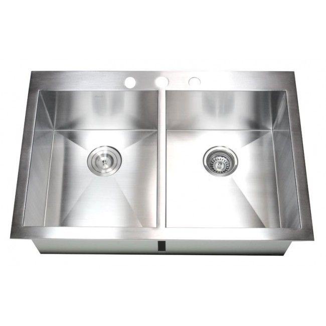 33 Inch Top Mount Drop In Stainless Steel Double Bowl Kitchen Sink Zero Radius Design Fregaderos Y Lavabos Cocinas Acero Inoxidable Lavamanos De Cocina