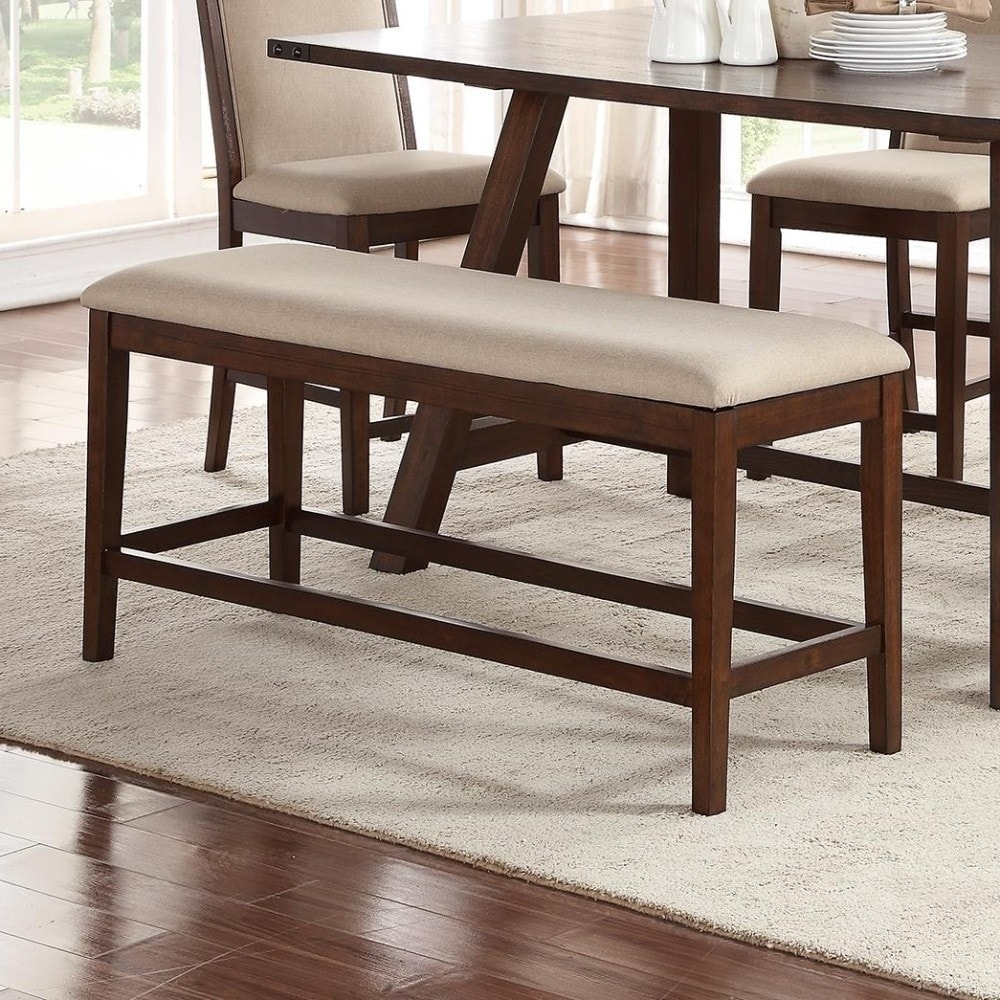 Sleek Rubber Wood Bench With Cushioned Seat Brown   Dining ...