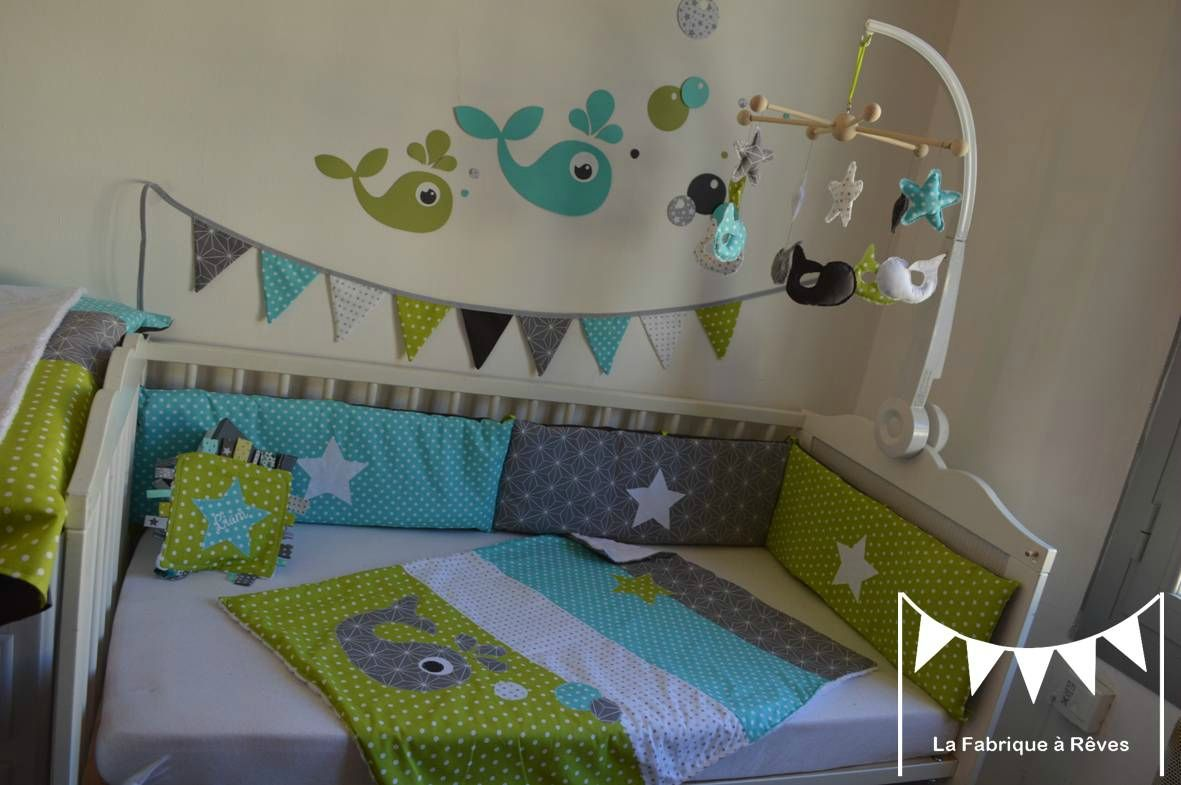 dcoration chambre enfant bb baleine anis turquoise gris blanc toiles 3
