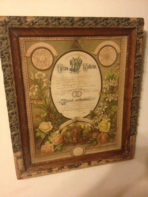 German Marriage Certificatecontract From 1891 Very Ornate And