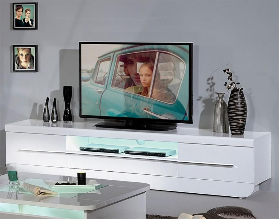 Sciae Floyd Contemporary High Gloss White TV Unit