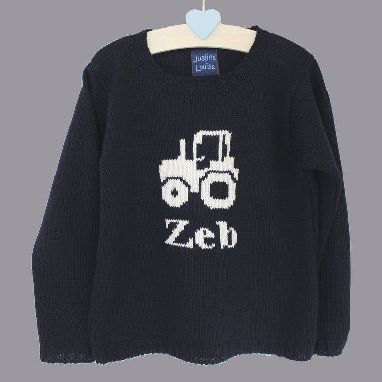 13e86632c8c personalised boys tractor jumper | Boys Tops | Personalized baby ...