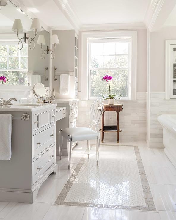 Ghost Chair Inside Grey Bathroom Vanity Bathroom Remodel Master