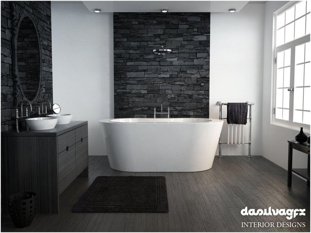 Stacked Stone Bathroom by DasilvaGFX Stone bathroom