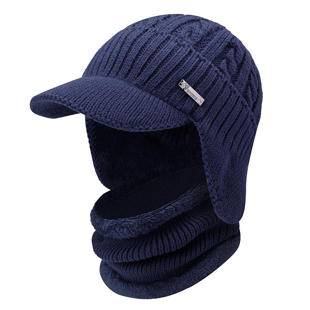 Men Women Winter Windproof Plus Velvet Knit Hat Scarf Set Outdoor Thicken Ski  Earmuffs Cap 06d8073d6b03