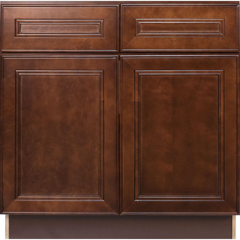 Everyday Cabinets 36 Inch Cherry Mahogany Brown Leo Saddle Base Kitchen Cabinet Base Cabinets Cabinet Elegant Kitchens