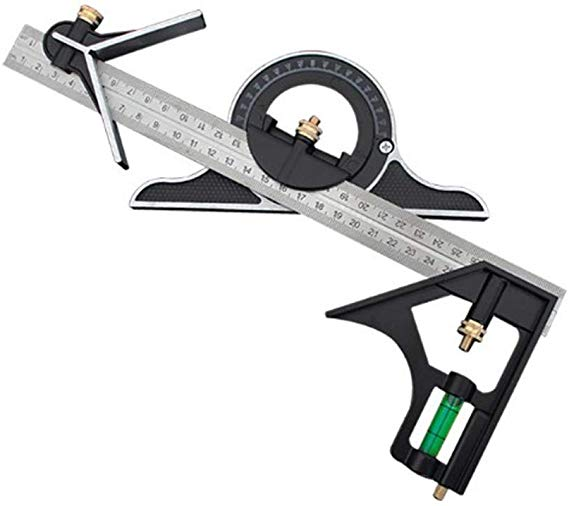 Stainless Steel T Square Ruler Adjustable Sliding Combination Square Square Ruler Protractor Level Measure Measuring Set 4 Protractor Steel Stainless Steel