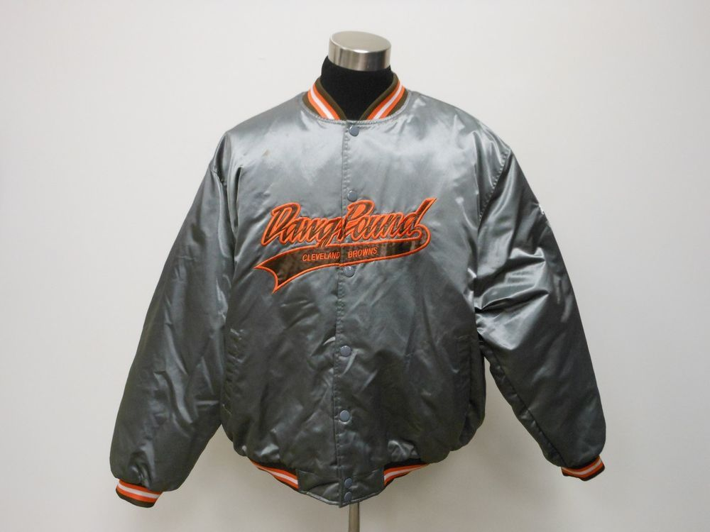 more photos 2bcd3 94080 VTG Puma Cleveland Browns Button UP Satin Jacket sz 2XL Dawg ...