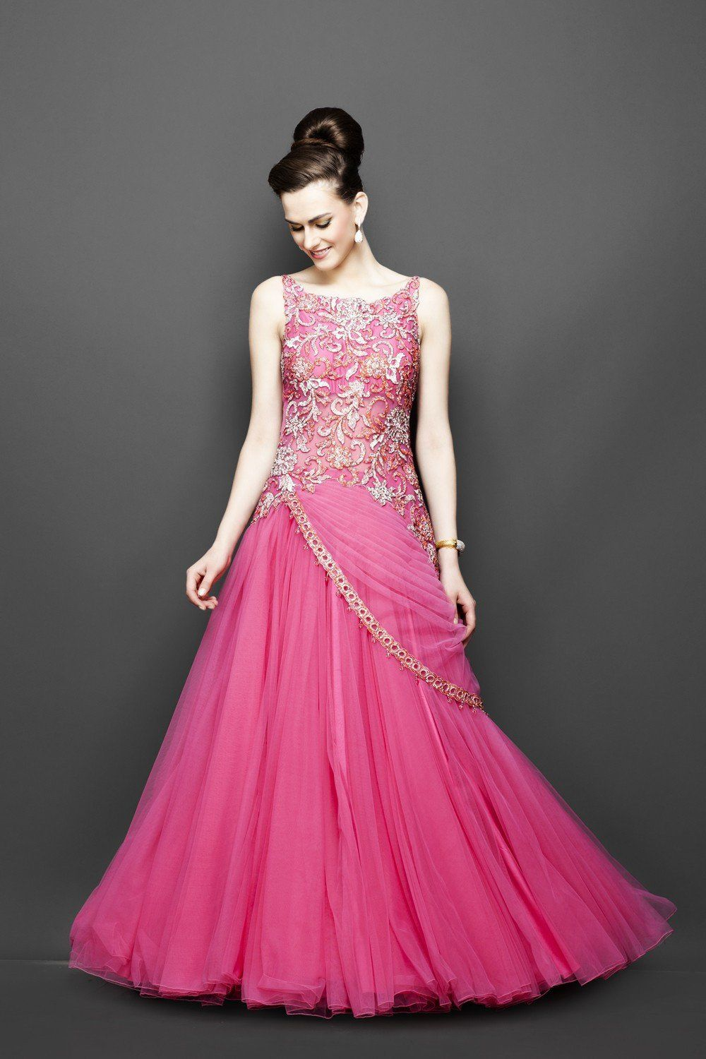 Pink color indo western bridal gown in partywearpromevening
