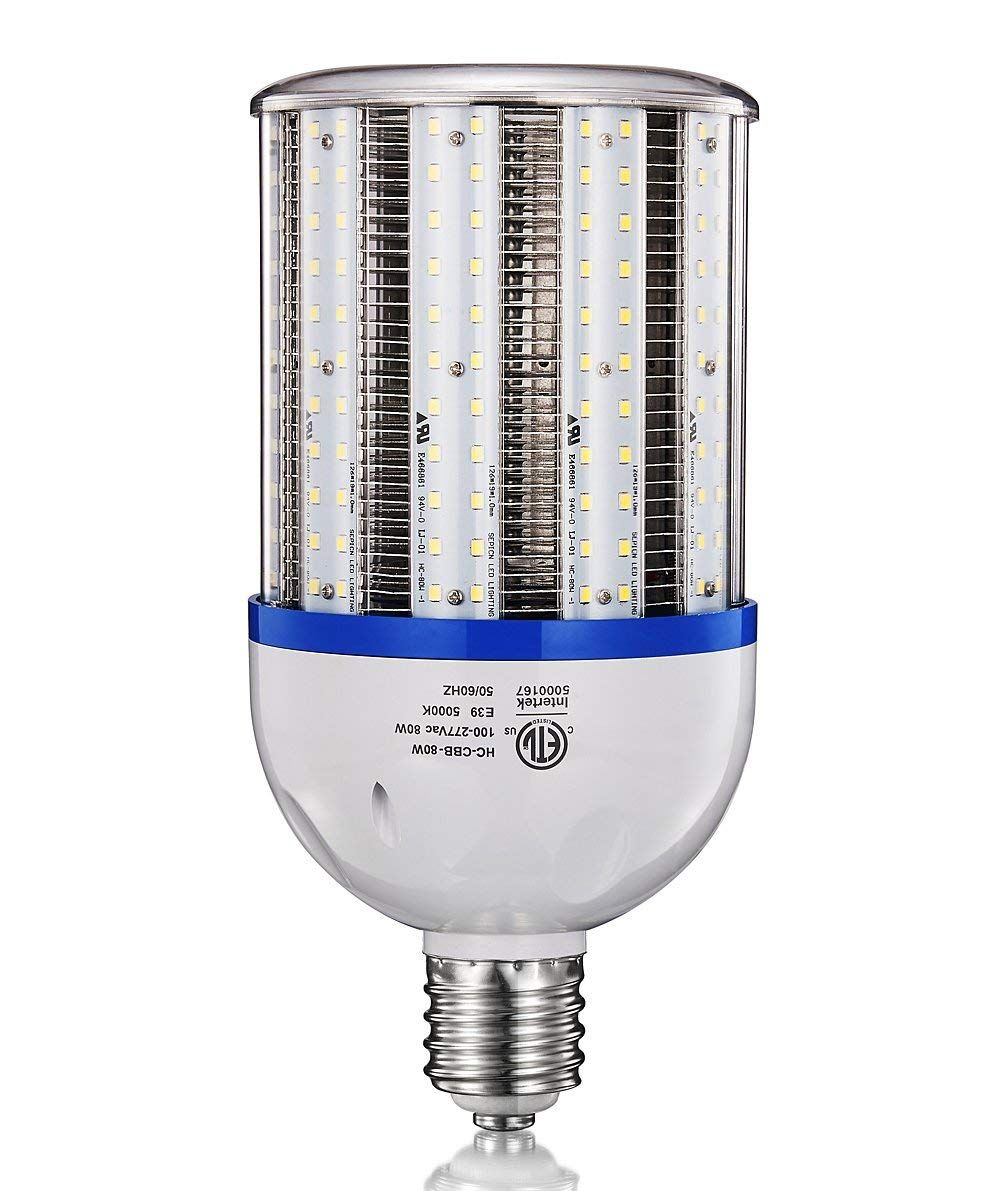 80w Led Corn Light Bulb 10800 Lumens 400w Equivalent 5000k Daylight Large Mogul E39 Base Ac100 277v Replacement For Metal Halide Bulb Light Bulb Bulb Led Bulb
