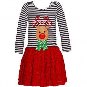 Bonnie Jean Little Girls Red Green Dot Bow Deer Applique Christmas Dress  2T-6X d18cb8279