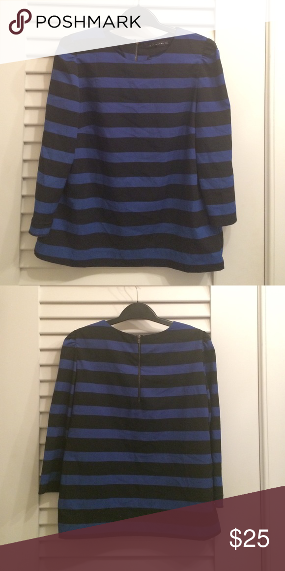 Zara 3/4 sleeve striped blouse Zara black and blue striped 3/4 sleeve blouse.  Boxy shape looks great with skinny pants. Excellent condition Zara Tops Blouses