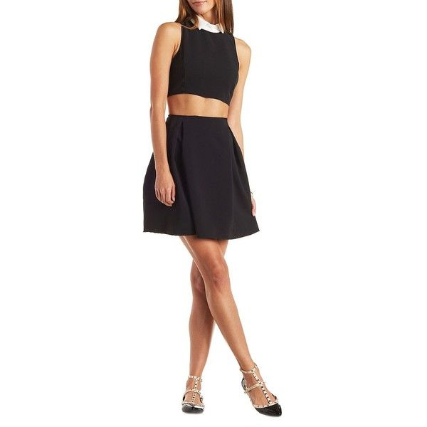Charlotte Russe Collared Cut-Out Skater Dress ($30) ❤ liked on Polyvore featuring dresses, black, collar skater dress, cut out dress, charlotte russe, cut out skater dress and cutout skater dress