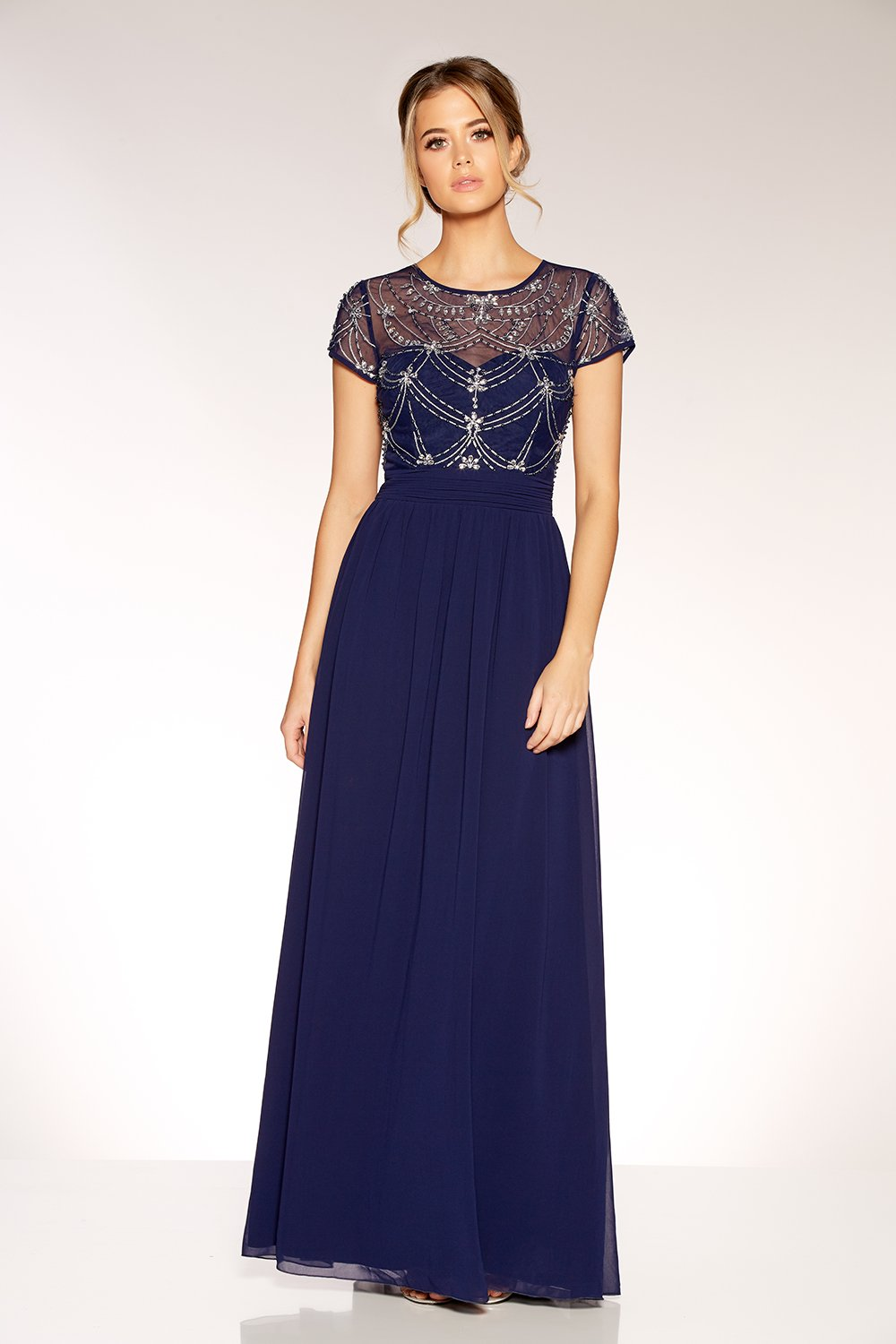 Navy And Silver Embellished Maxi Dress