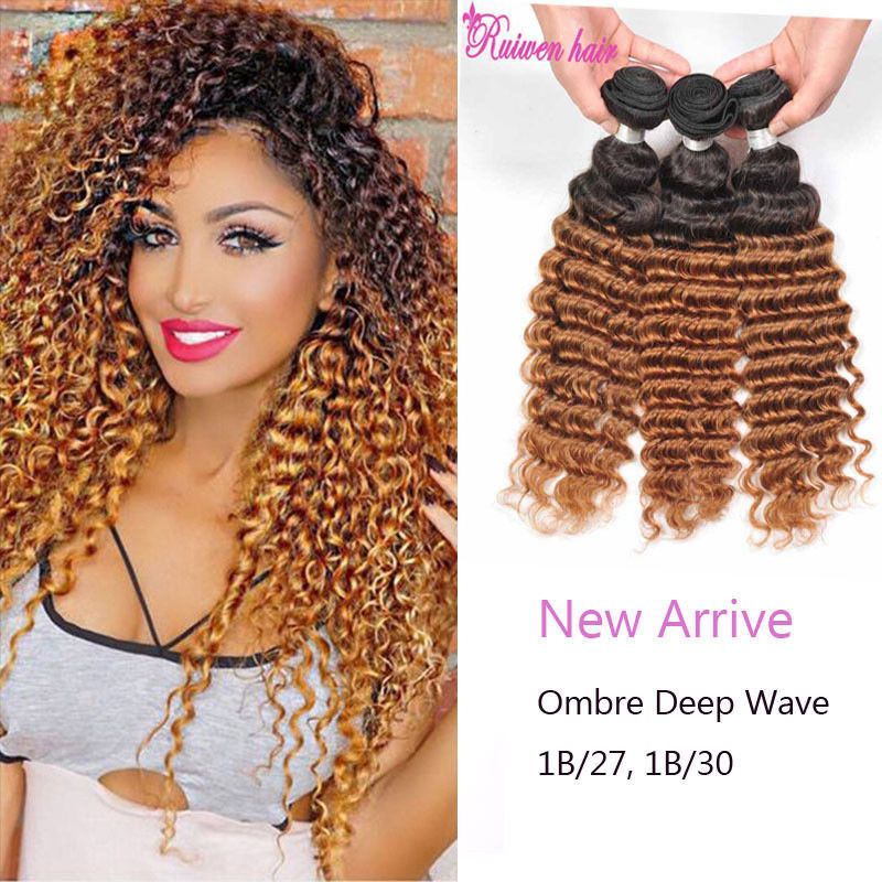 Two Tone Deep Curl Ombre Hair Weaves Brown Color 1b 27 1b 30 Brazilian Hair Ombre Hair Weave Curly Crochet Hair Styles Weave Hairstyles