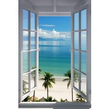 Fenster zum Strand Poster