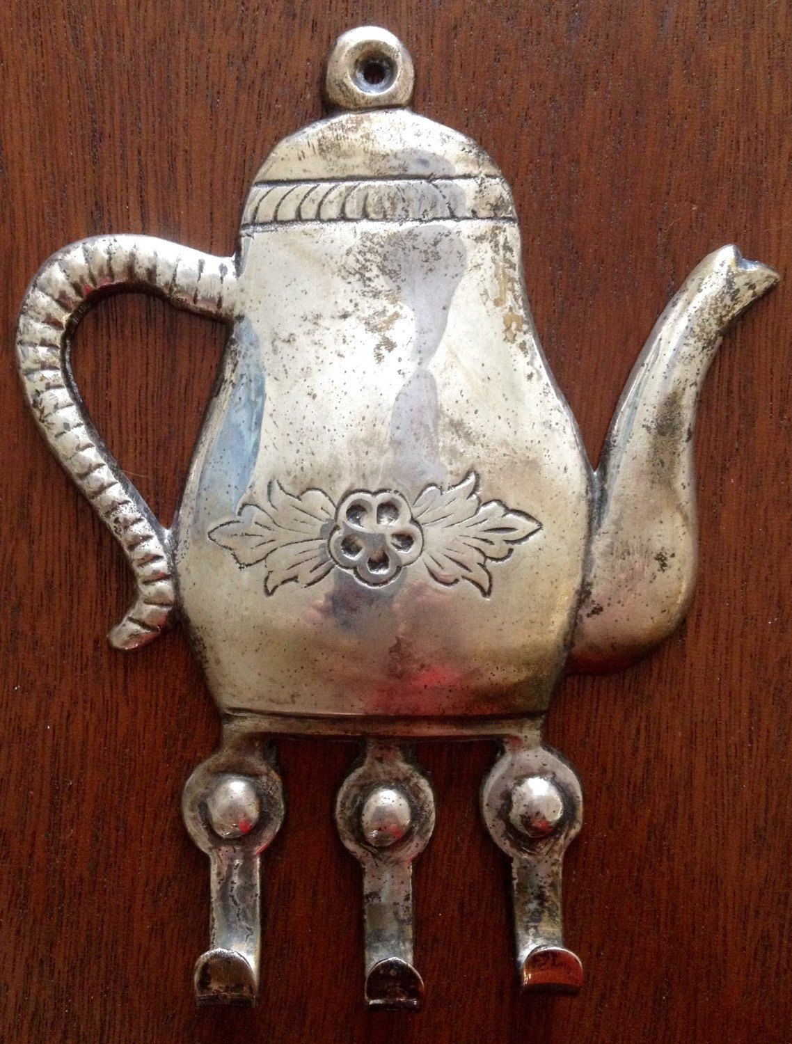 Vintage Silver Towel Hook Kitchen Hook Teapot Kitchen Towel Jewelry Hook Wall Hook Wall Hanger Rack Hook Tea L Jewelry Hooks Towel Hooks Vintage Silver