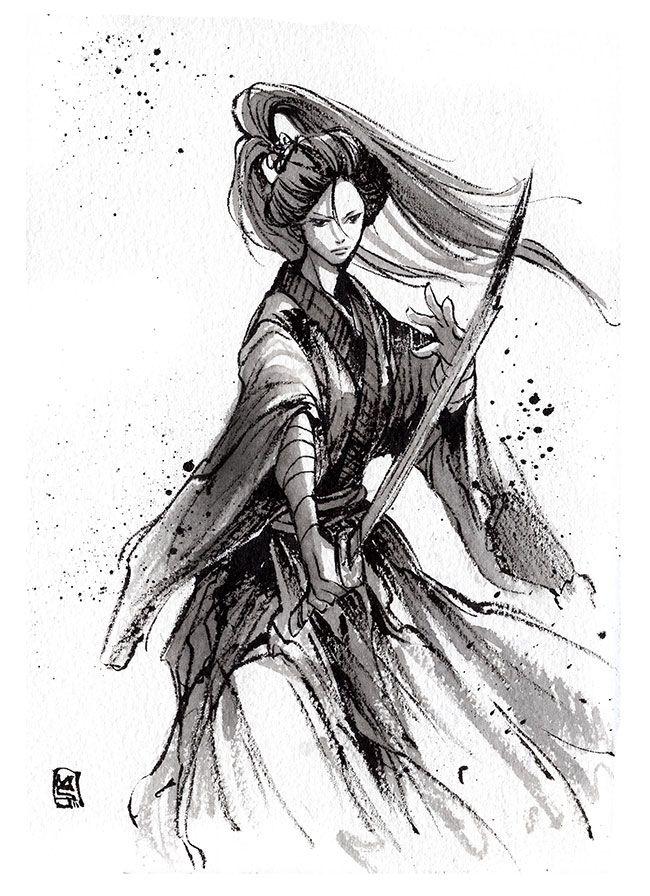 Ink sketch lady katana by on for Female samurai tattoo