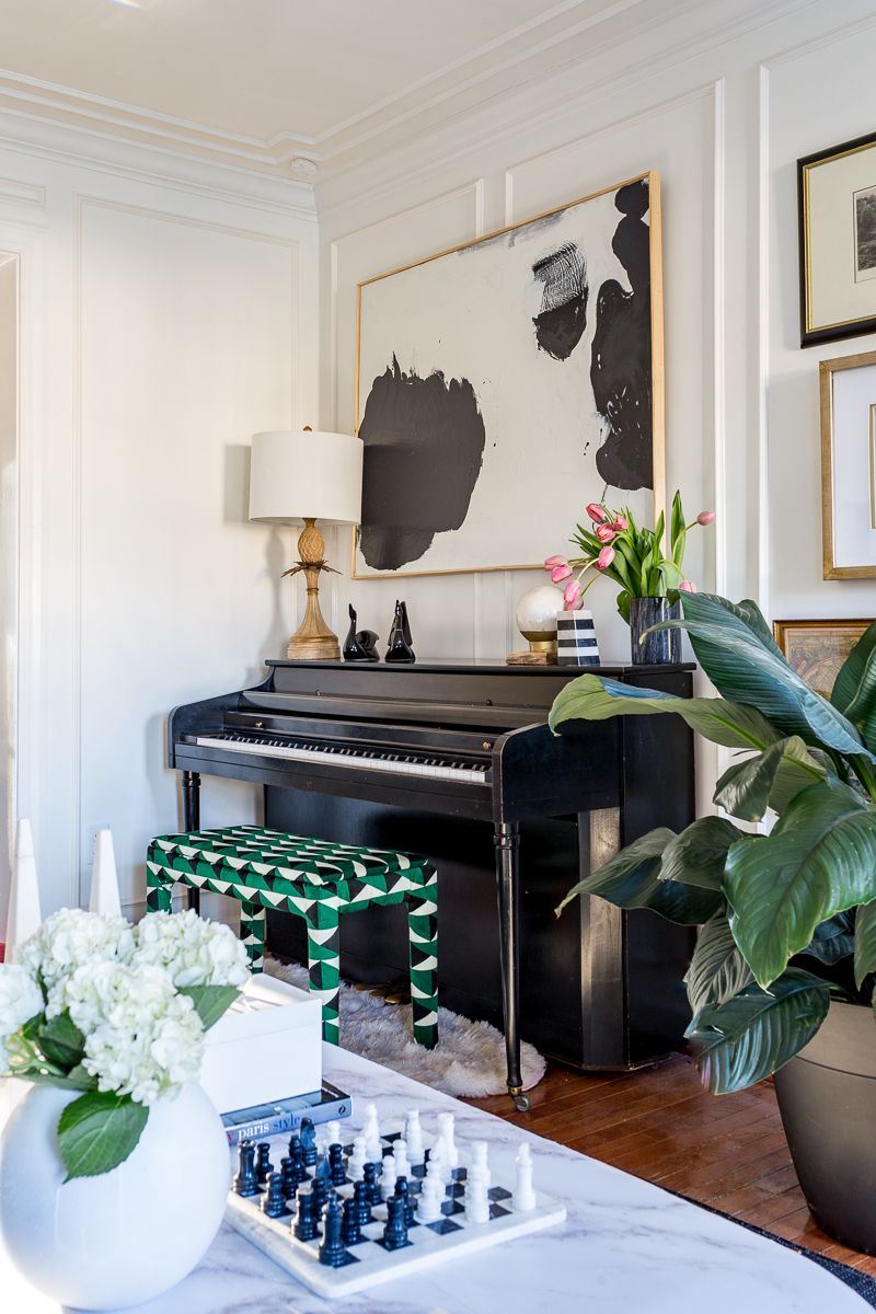 2019 Spring Home Tour It S A Colorful Life Blog Hop Spring Edition Jeweled Interiors Piano Room Decor Piano Living Rooms Piano Decor