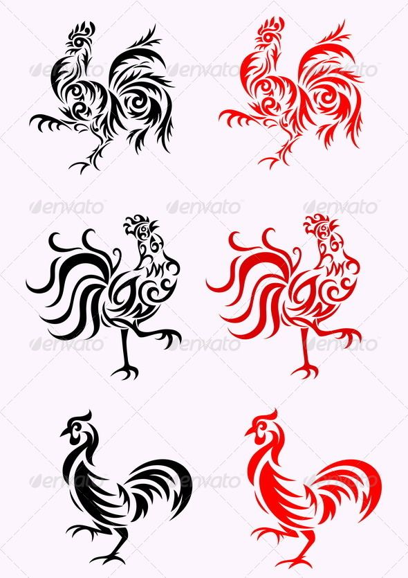 6121211bc7f69 Rooster | Stencils | Tribal tattoo designs, Rooster, Rooster art