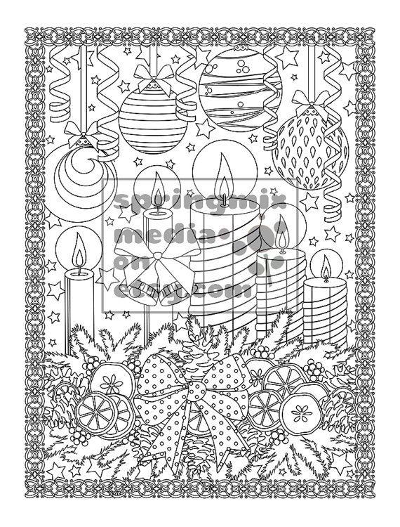 printable xmas coloring page holiday xmas candles christmas treats holiday coloring book adult - Holiday Coloring Book
