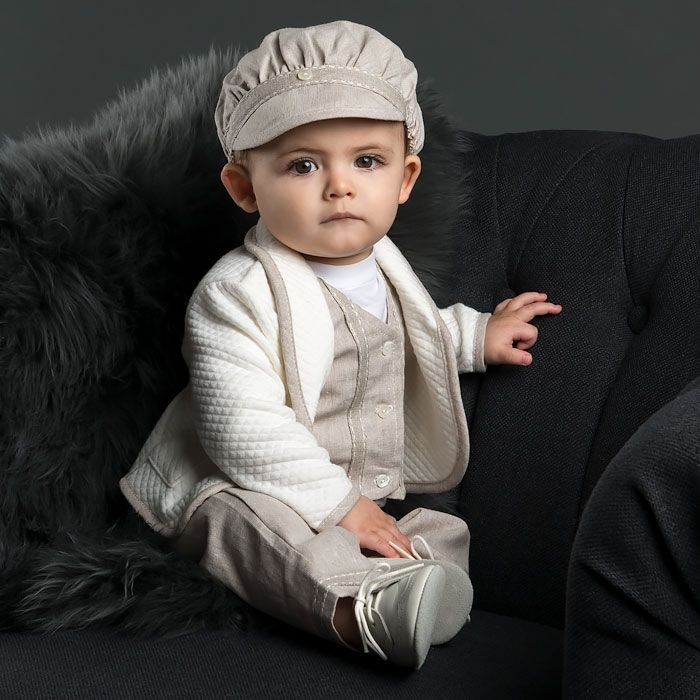 Marco Christening Suit I Baby first suit I First Birthday boy suit I Beige Christening baby suit I
