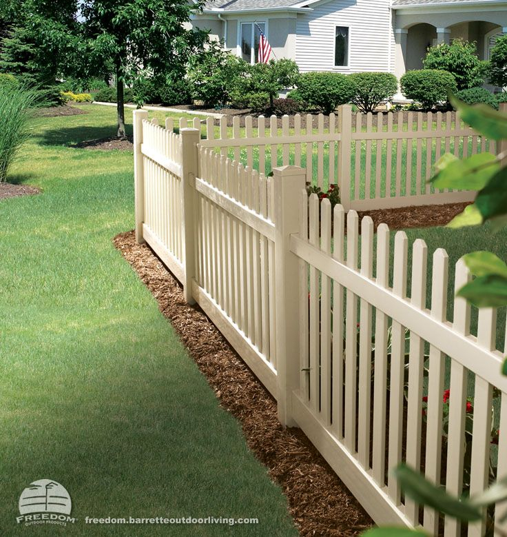 Not Your Typical Picket Fence Sand Color In Low Maintenance Vinyl Freedom Fencing Built By Barrette And Manuf Backyard Fences Backyard Design Fence Panels