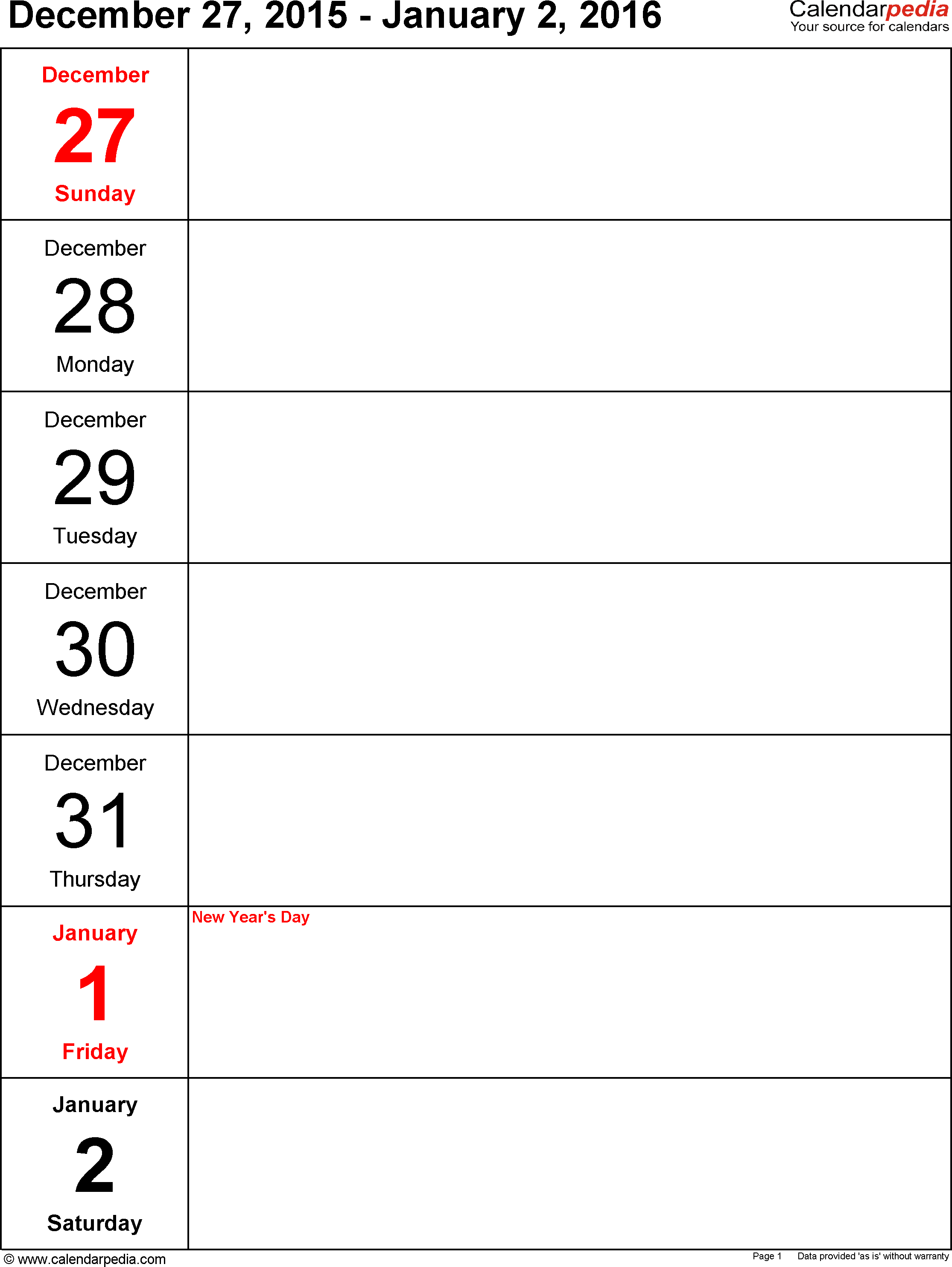 Weekly Calendar 2016 Template For Word Version 10 Portrait