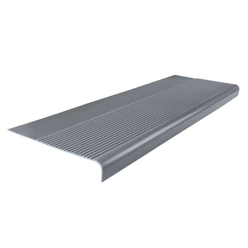 Ribbed Profile Dark Gray 12 1 4 In X 36 In Round Nose Stair Tread Stair Treads Stair Tread Covers Wood Handrail