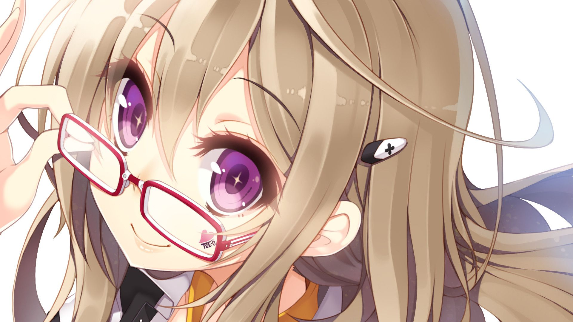anime girl - violet eyes - blond hair