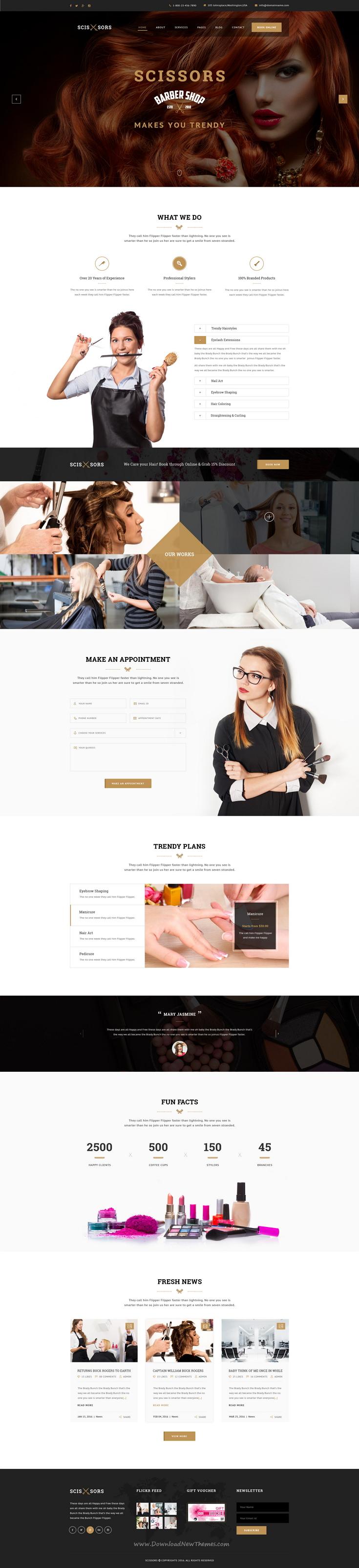 Scissors Salon Hair Styling Psd Template Hair Salon Website Design Web Layout Design Web Development Design