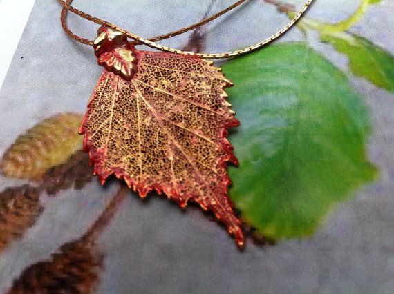 Real leaf necklace - Birch leaf in iridescent copper. D4Av9r