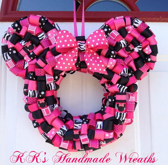 Photo of Items similar to Zebra Print Minnie Mouse Ribbon Wreath on Etsy