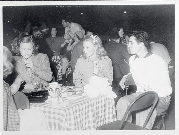 Ginger Rogers and Alfred Gwynne Vanderbilt were hosts recently to 500 guests at a skating party at the Los Angeles, California, Rollerdome. Simone Simon is shown, left, with Miss Rogers and Mr. Vanderbilt at the party.  - March 15, 1937