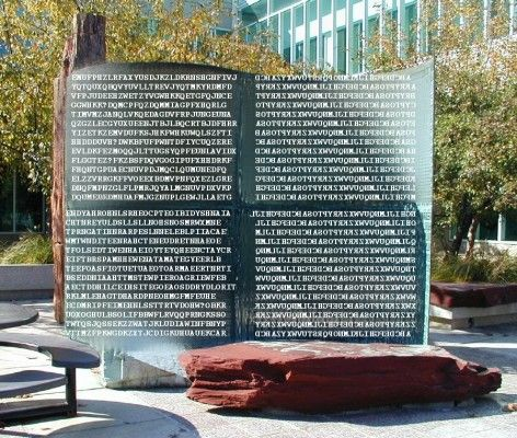 """Artist Jim Sanborn's sculpture Kryptos Is included here because the text inscribed on it has created a mystery that even the best code-breakers in the CIA have not been able to unravel. The sculpture was commissioned by the CIA as a monument to the intelligence gathering work that made the agency famous, and it was installed at their headquarters in Langley, VA in 1990.  Sanborne collaborated with a top CIA cryptographer to create a complex """"riddle within a riddle""""."""