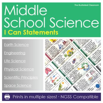 Bring the NGSS science standards to life with these easy-to-use, color-coded, editable posters for middle school science. They are perfect for showing students, parents, and administrators the academic standard that is at the root of your lesson. The illustrations and kid-friendly language help students make sense of the standards.