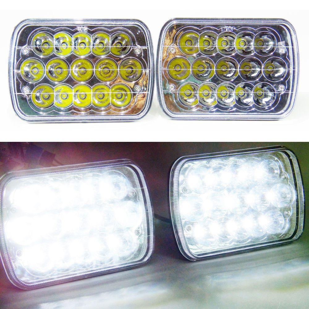 1 pair 7x6 led headlights hid light bulbs crystal clear sealed beam headlamp ovovs