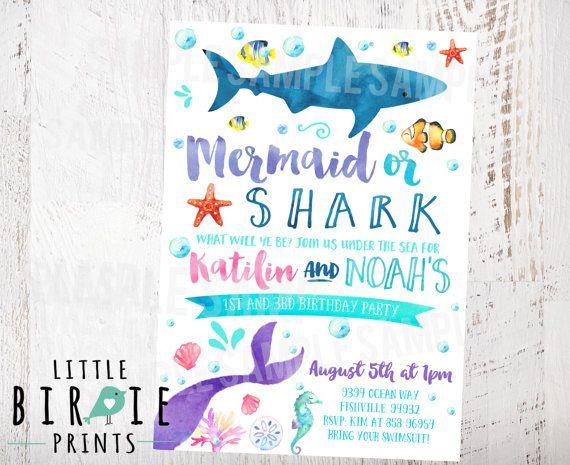 MERMAID And SHARK INVITATION Mermaid Or Shark Birthday Invitation Dual Sibling