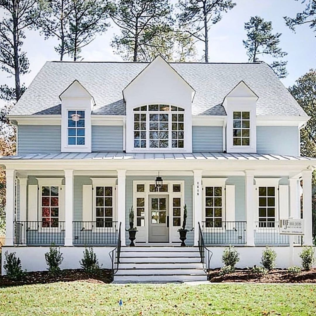 Modern Farmhouse Exterior Home Wrap Around Porch Blue House Country Cottage House Exterior Dream House Pretty House