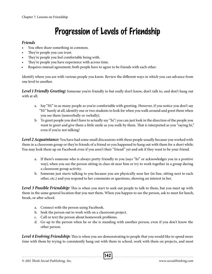 From the book Social Thinking Worksheets for Tweens and Teens ...