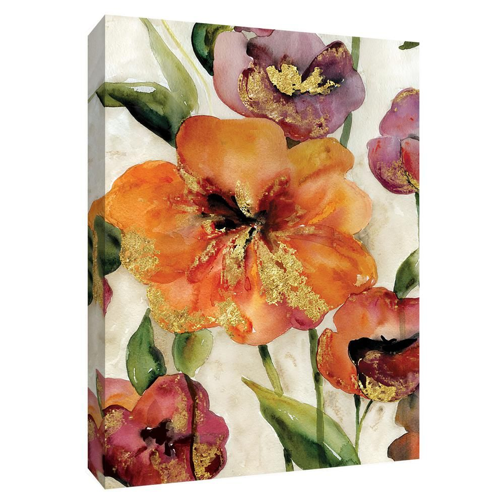 12 Inx10 In Gold Poppy Punch Ii By Ptm Images Canvas Wall Art Multicolored Flower Canvas Wall Art Floral Wall Art Canvases Floral Wall Art Prints