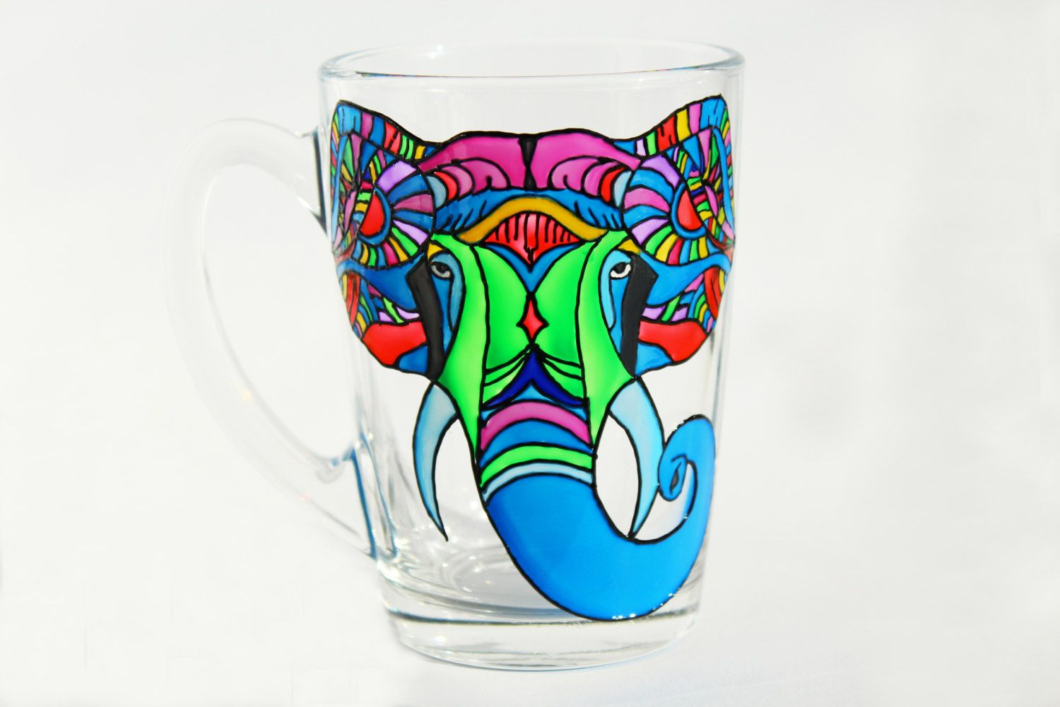 Painted Mug Elephant Glass Coffee Mug Funny Elephant mug Blue