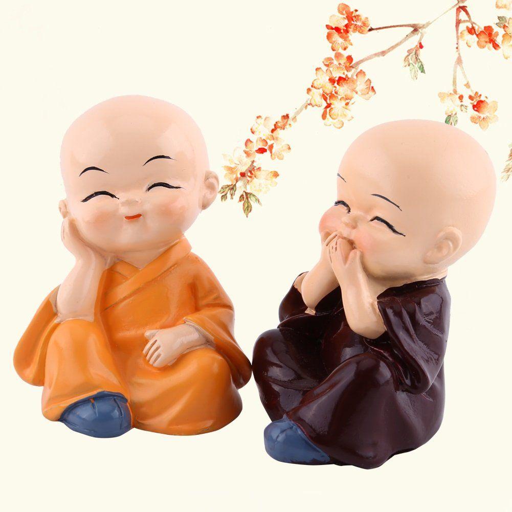 4PCs Statue Bouddha - Delaman Mini Moine Bouddha Figurine en Résine ...