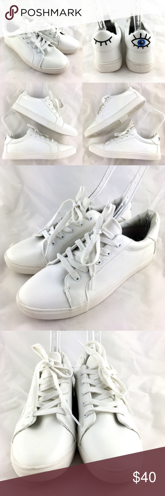 23103e733401d Boom sneakers shoes white 10 embroidered wink eye Betsey Johnson ...