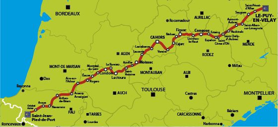 Carte Via Podiensis Chemin De Compostelle Puy Saint Jacques De