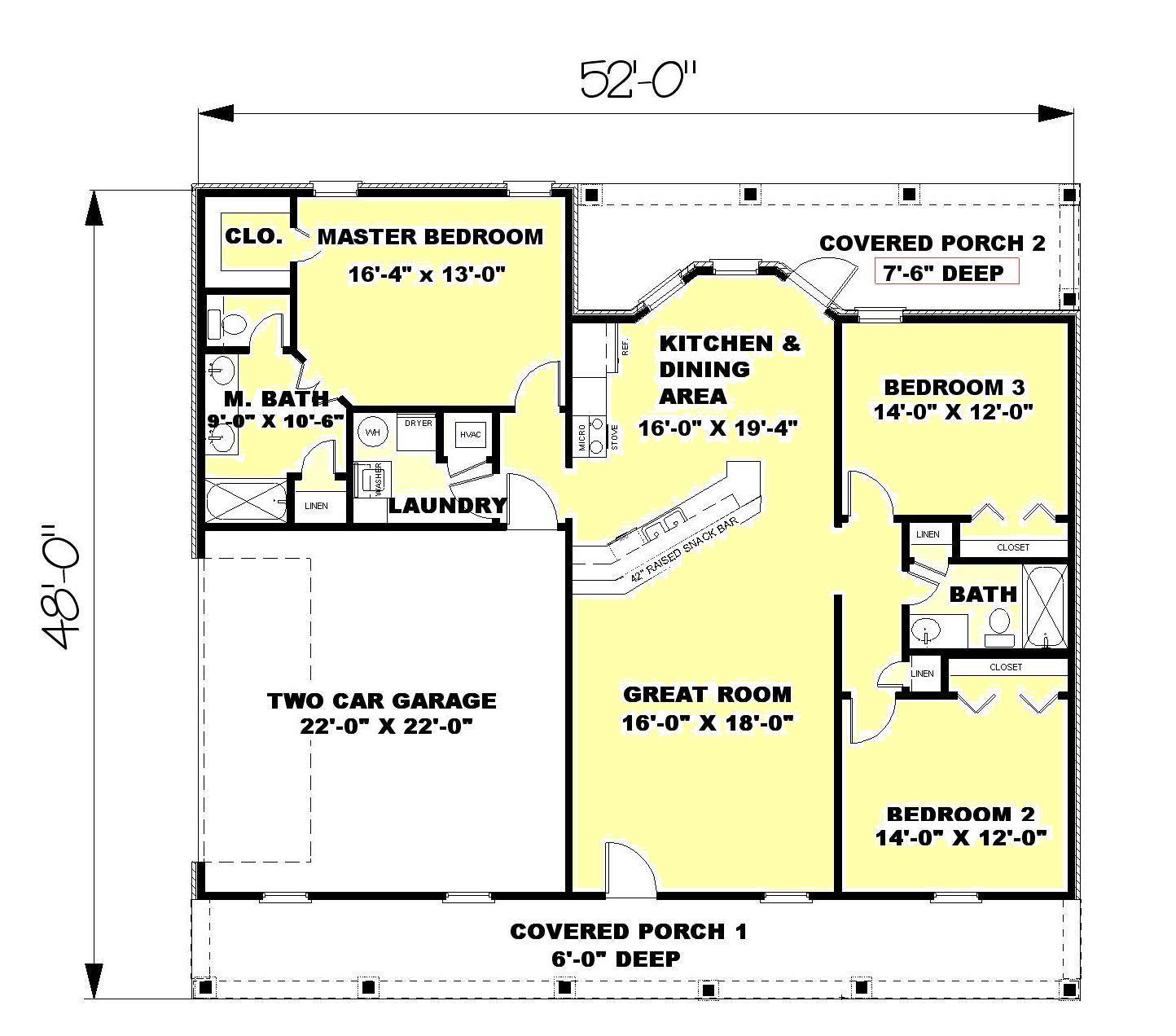 ranch style house plan 3 beds 2 baths 1500 sqft plan 44
